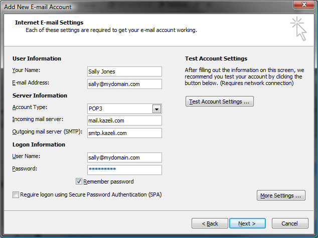 Email Setup with outlook